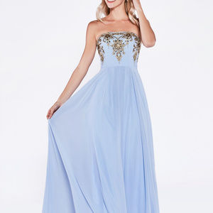 Strapless a-line gown with lace applique bodice.